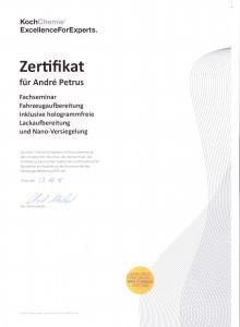 Koch-Zertifikat Andre Petrus