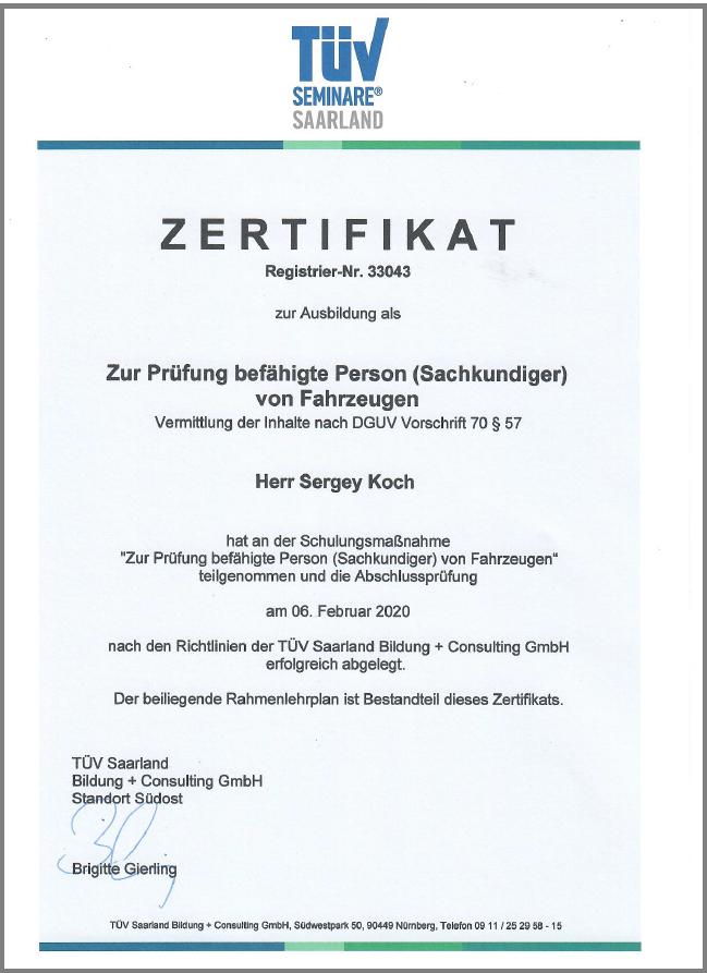 UVV DGUV Vorschrift 70 §57_Zertifikat Driver-Station Starnberg München