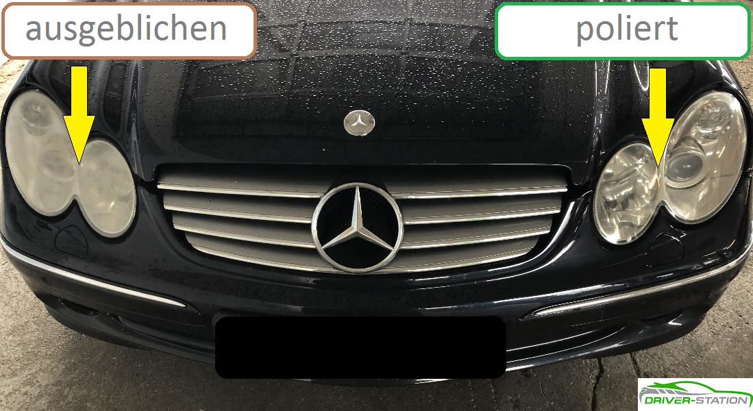 Scheinwerfer ausgeblichen stumpf blind schleifen polieren Driver-Station Autopflege München Starnberg Mercedes