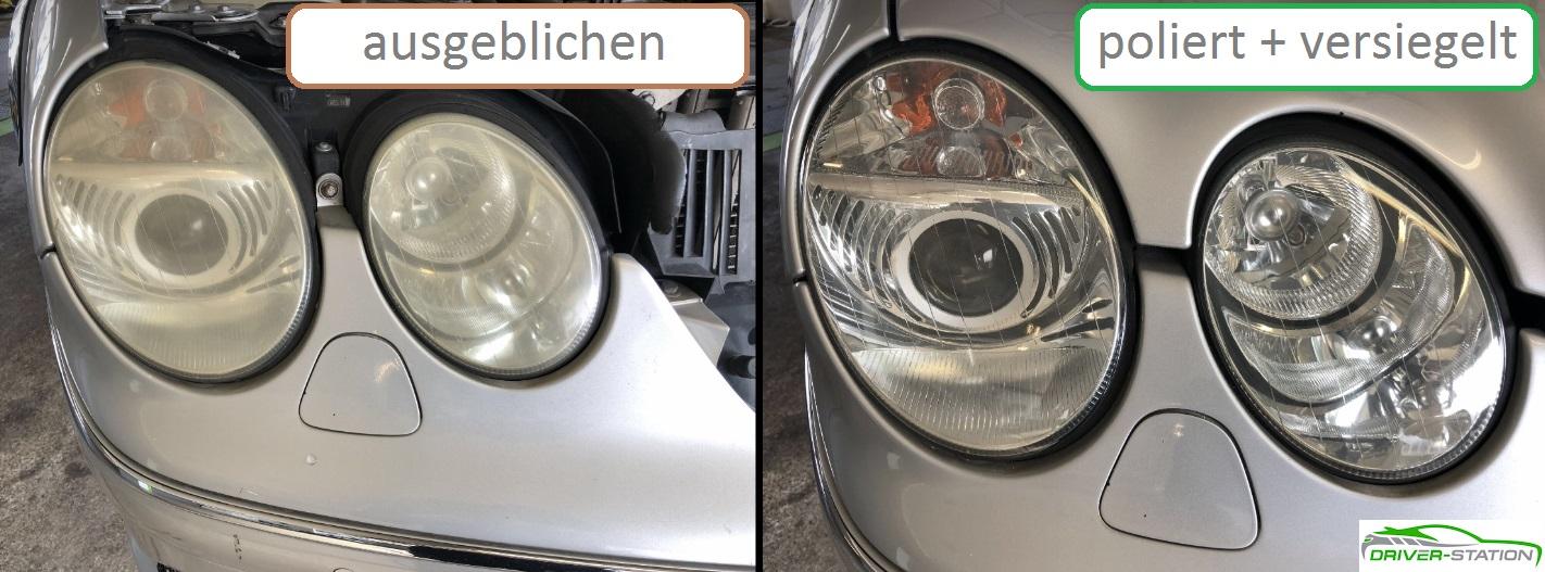 Scheinwerfer ausgeblichen stumpf blind schleifen polieren Driver-Station Autopflege München Starnberg